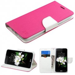LG K7 Hot Pink Pattern/White Liner wallet with Card Slot