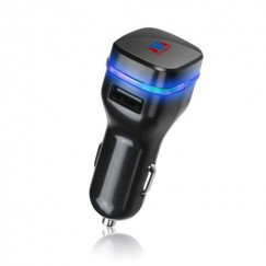 Black/Black Car Charger Adapter with Dual USB output - 3.1 Amps