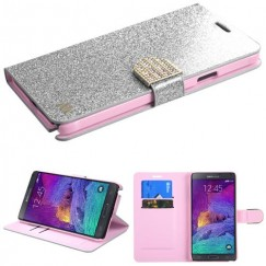 Samsung Galaxy Note 4 Silver Glittering Wallet with Diamante Belt