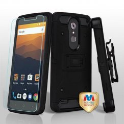 ZTE Blade Max 3 / Max XL Black/Black 3-in-1 Kinetic Hybrid Case Combo with Black Holster and Twin Screen Protectors
