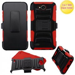 LG X Power 2 Black/Red Advanced Armor Stand Case with Black Holster