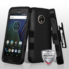 Motorola Moto G5 Plus Rubberized Black/Black Hybrid Case Military Grade with Black Horizontal Holster