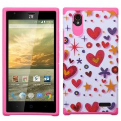 ZTE Warp Elite Heart Graffiti(White)/Hot Pink Advanced Armor Case