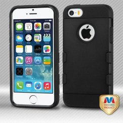Apple iPhone 5/5s Rubberized Black/Black Hybrid Case