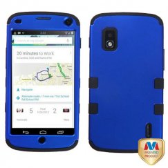 LG Nexus 4 Titanium Dark Blue/Black Hybrid Case
