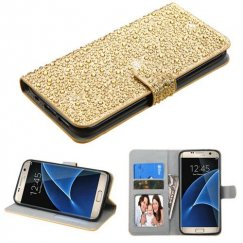 Samsung Galaxy S7 Edge Gold Diamante Wallet