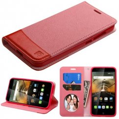 Alcatel One Touch Conquest Pink/Red wallet with Card Slot