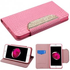 Apple iPhone 7 Plus Pink Crocodile Skin/Diamante Belt Wallet