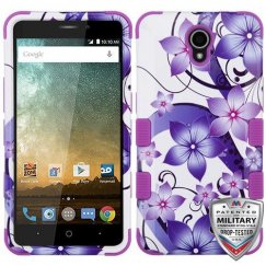 ZTE Prestige 2 Purple Hibiscus Flower Romance/Electric Purple Hybrid Case