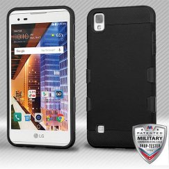 LG X Style / Tribute HD Rubberized Black/Black Hybrid Case Military Grade