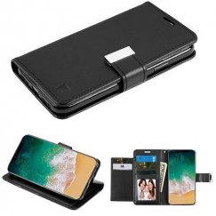 Apple iPhone X Black/Black PU Leather Wallet with extra card slots