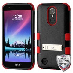 LG K10 Natural Black/Red Hybrid Case with Stand Military Grade