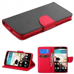 LG G3 Black Pattern/Red Liner Wallet with Card Slot