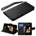 LG G Stylus 2 Black Pattern/Black Liner wallet (with Lanyard)