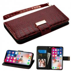 Apple iPhone X Burgundy Crocodile-Embossed Wallet