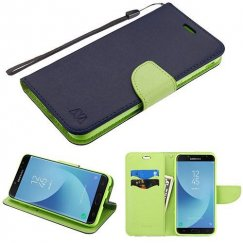Samsung Galaxy J7 Dark Blue Pattern/Green Liner wallet (with card slot)(84L) -WP