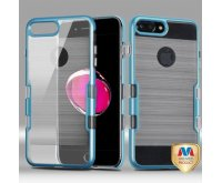 Apple iPhone 7 Plus Metallic Blue Coral Colored/Transparent Clear Brushed Panoview Hybrid Case