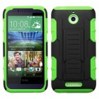 HTC Desire 510 Black/Electric Green Car Armor Stand Case - Rubberized