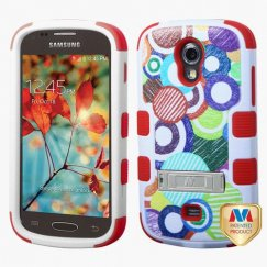Samsung Galaxy Light Sketch Circle/Red Hybrid Case with Stand