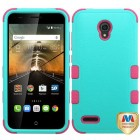 Alcatel One Touch Conquest Natural Teal Green/Electric Pink Hybrid Phone Protector Cover