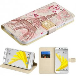 HTC Bolt Eiffel Tower Diamante Wallet with Diamante Belt