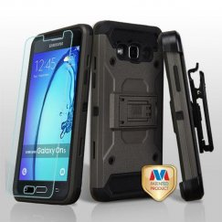Samsung Galaxy On5 Dark Grey/Black 3-in-1 Case Combo with Black Holster with Tempered Glass Screen Protector