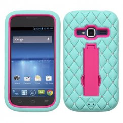 ZTE Concord 2 Hot Pink/Sky Blue Symbiosis Stand Case with Diamonds