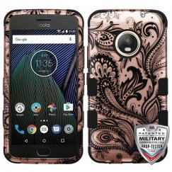 Motorola Moto G5 Plus Phoenix Flower (2D Rose Gold)/Black Hybrid Case Military Grade
