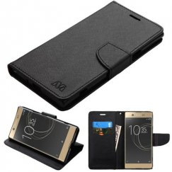 Sony Xperia X Black Pattern/Black Liner wallet with Card Slot