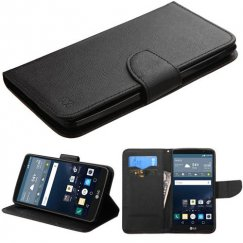 LG G Stylo Black Pattern/Black Liner wallet with Card Slot