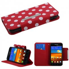 Samsung Epic 4G Touch (Galaxy S2) White Polka Dots /Red Frosted Book-Style Wallet with Card Slot