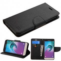 Samsung Galaxy J3 Black Pattern/Black Liner wallet with Card Slot