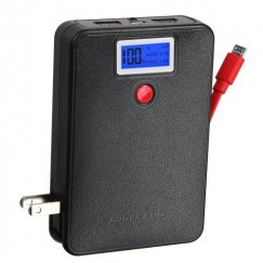 Black Power Bank with LCD Display (Red Button & Red Micro USB to USB Cable) (10000 mAh)