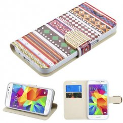 Samsung Galaxy Core Prime Ethnic Customs Diamante Wallet with Diamante Belt