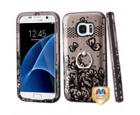Samsung Galaxy S7 Black Lace Flowers (2D Rose Gold)/Black Hybrid Protector Cover (with Metal Ring Stand) [New Improved Design]