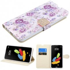 LG G Stylus 2 Fresh Purple Flowers Diamante Wallet with Diamante Belt