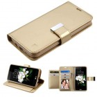LG K7 Gold/Gold PU Leather Wallet with extra card slots