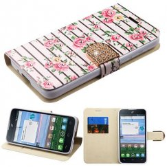 Alcatel Stellar / Tru 5065 Pink Fresh Roses Diamante Wallet with Diamante Belt