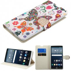LG G Stylo Butterfly Wonderland Diamante Wallet with Diamante Belt