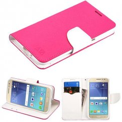 Samsung Galaxy J2 Hot Pink Pattern/White Liner wallet with Card Slot