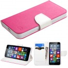 Nokia Lumia 640 Hot Pink Pattern/White Liner wallet with Card Slot