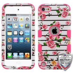 Apple iPod Touch (6th Generation) Pink Fresh Roses/Electric Pink Hybrid Case Military Grade