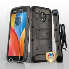 Motorola Moto E4 Plus Dark Grey/Black 3-in-1 Kinetic Hybrid Case Combo with Black Holster and Tempered Glass Screen Protector