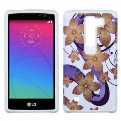 LG Escape 2 Purple Hibiscus Flower Romance /White Advanced Armor Case