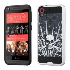 HTC Desire 555 Sword & Skull/Black Brushed Hybrid Case