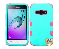 Samsung Galaxy J1 Rubberized Teal Green/Electric Pink TUFF Hybrid Phone Protector Cover
