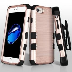 Apple iPhone 7 Rose Gold Brushed/Black Hybrid Phone Case Military Grade with Black Horizontal Holster