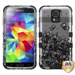 Samsung Galaxy S5 Black Lace Flowers 2D Silver/Black Hybrid Case
