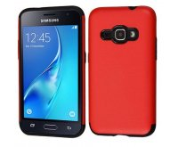 Samsung Galaxy J1 Red Glossy/Black Hybrid Case