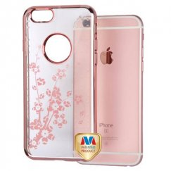 Apple iPhone 6s Rose Gold Glassy Spring Flowers SPOTS Electroplated Premium Candy Skin Cover